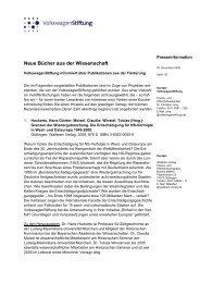 Neue Bücher aus der Wissenschaft - VolkswagenStiftung