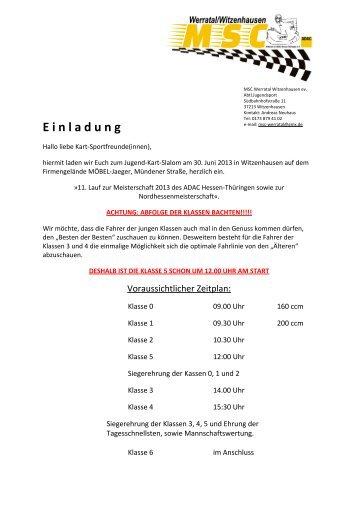 Ausschreibung - MSC Reinhardswald-Hofgeismar
