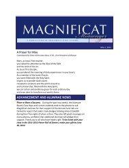 ADVANCEMENT AND ALUMNAE NEWS - Magnificat High School
