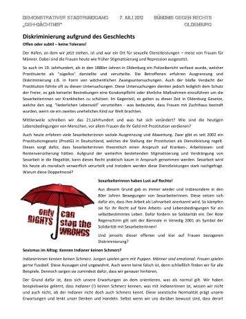 Sexarbeiterinnen - Bündnis gegen Rechts Oldenburg