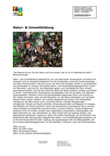 Natur- und Umweltbildung: Spannende Natur erleben