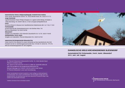 Gemeindebrief Juni/Juli/ August 2013 - Evangelische Kreuz ...