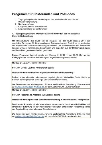 Programm für Doktoranden und Post-docs - GDM