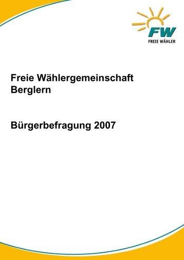 Auswertung Bürgerbefragung 2007 - Freie Wähler Erding-land