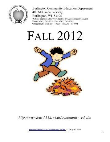 Fall 2012 Booklet - Burlington Area Schools
