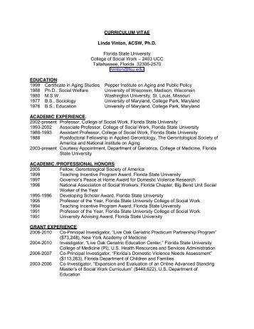 Curriculum Vitae La Tonya M Noel Fsu College Of Social Work