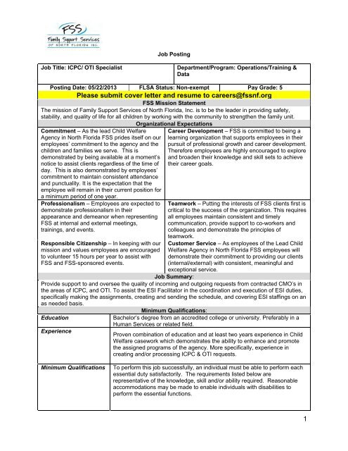 1 Please Submit Cover Letter And Resume To Careers Fssnf Org
