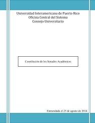 Constitución de los Senados Académicos - Recinto de Arecibo