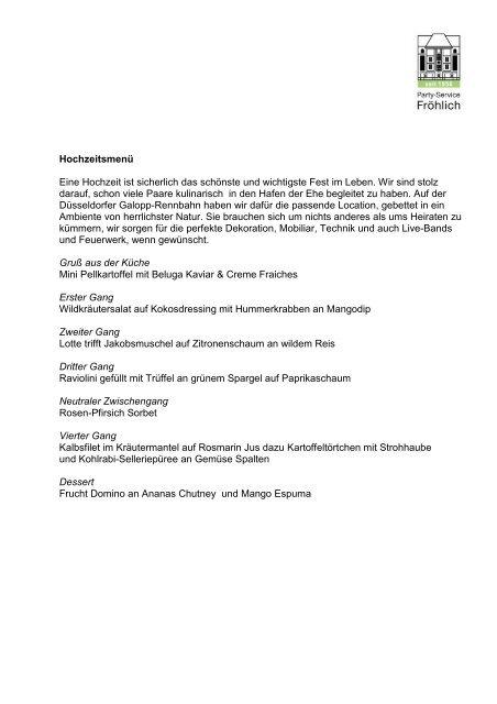 Speisenauswahl - Party-Service Fröhlich