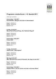 Programm s-kulturforum I. +II. Quartal 2011 - Party-Service Fröhlich