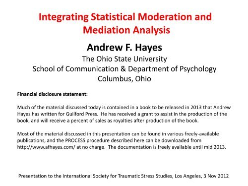 Y) a - Andrew F  Hayes, Ph D