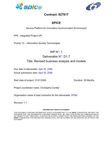 D1.7 Title: Revised business analysis and models - ist-spice