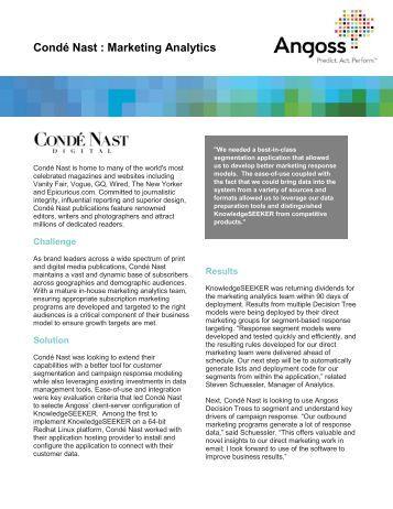 Conde Nast Marketing Analytics - Angoss Software Corporation