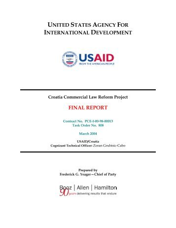 Croatia Commercial Law Reform Project - PDF, 101 mb - usaid
