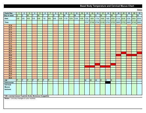 Cervical Mucus Chart