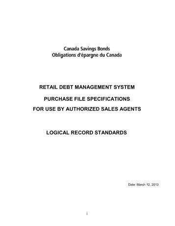 Logical Record Standards - Canada Savings Bonds