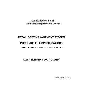 Data Element Dictionary - Canada Savings Bonds