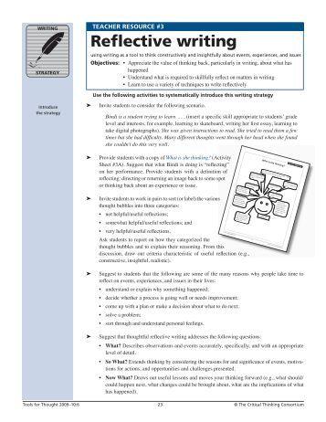 Reflective essay critical thinking