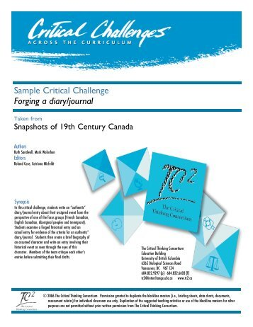 Download a sample lesson - The Critical Thinking Consortium