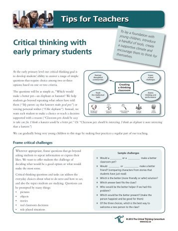 Download the tips - The Critical Thinking Consortium