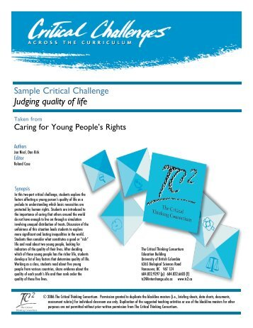 Caring for Young People's Rights - The Critical Thinking Consortium