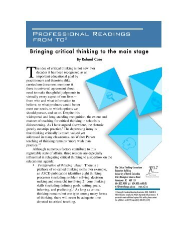 Professional Readings from tc2 - The Critical Thinking Consortium