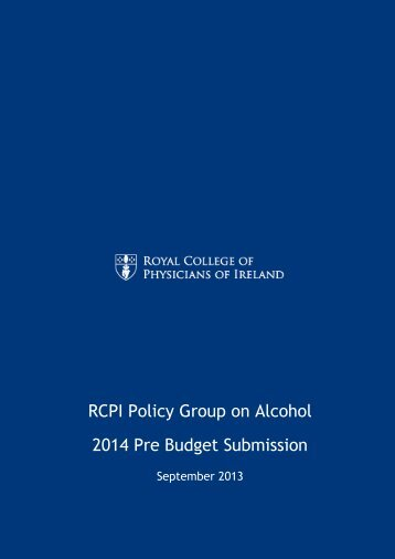 RCPI Policy Group on Alcohol 2014 Pre Budget Submission