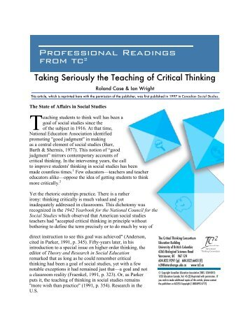 critical thinking consortium View maria vamvalis' profile on linkedin i am a facilitator and professional learning coordinator with the critical thinking consortium (wwwtc2ca.