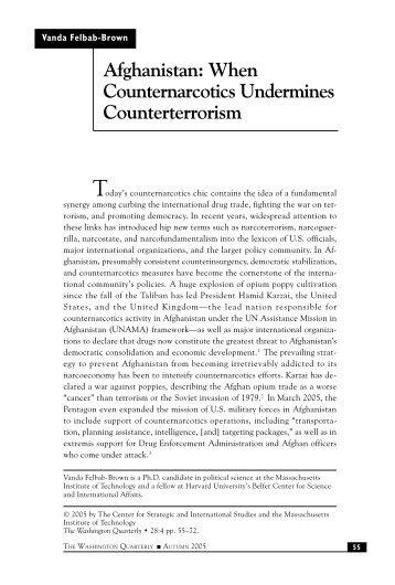 Afghanistan: When Counternarcotics Undermines Counterterrorism ...