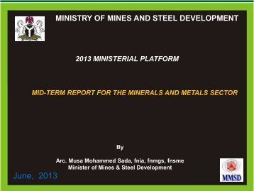 Ministry of Mines and Steel Development - Federal Ministry of ...