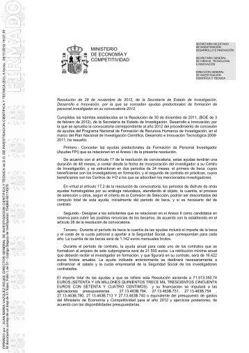 Resolución de concesión de las ayudas FPI 2012 - Ministerio de ...
