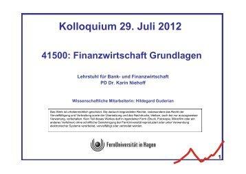 Finanzwirtschaft Grundlagen - FernUniversität in Hagen
