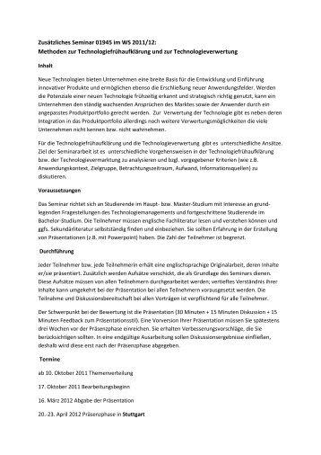 Zusätzliches Seminar 01945 im WS 2011/12: Methoden zur ...