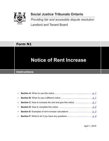 Notice Of Rent Increase  Residential Rental Units  Rto