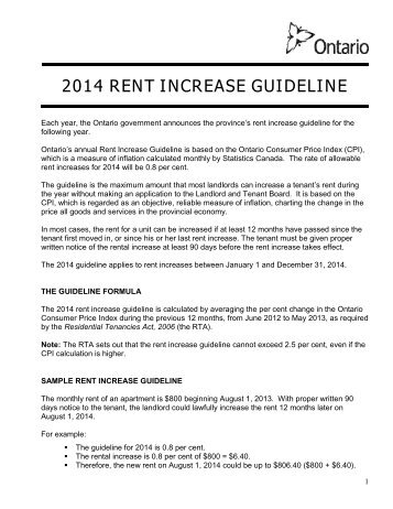 ontario notice of rent increase 2013 rent increase guideline landlord tenant board ontario 664