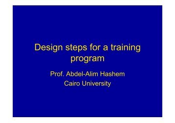 Design steps for a training program, Dr. Abdel-Alim Hashem