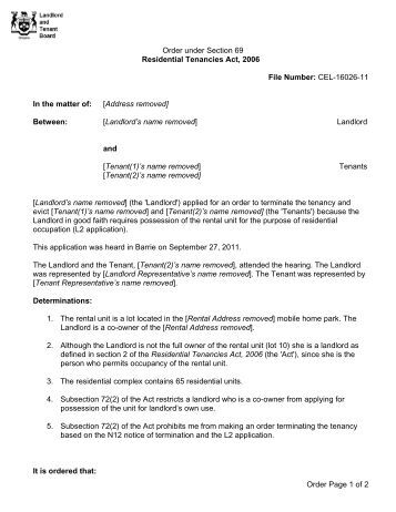 application to the landlord and tenant board
