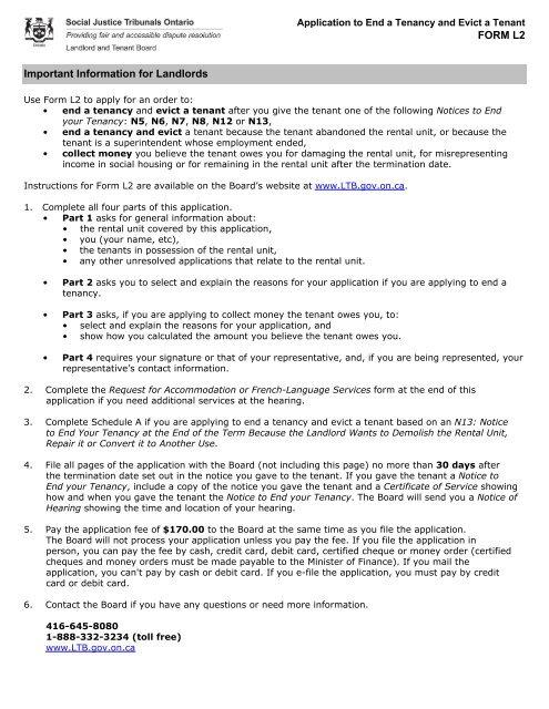 L2 Form RTA - Landlord Tenant Board