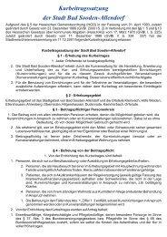 Kurbeitragssatzung der Stadt Bad Sooden-Allendorf