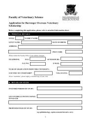 Application form - Faculty of Veterinary Science - University of ...