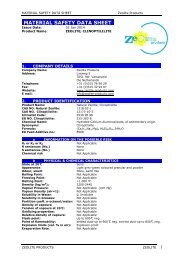 MATERIAL SAFETY DATA SHEET - Zeolite Products