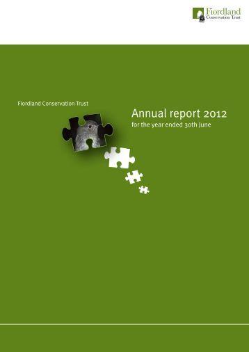 Annual report 2012 - Fiordland Conservation Trust