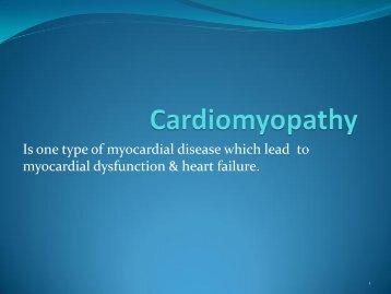 Is one type of myocardial disease which lead to myocardial ...