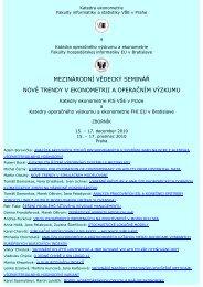 mezinárodní vědecký seminář nové trendy v ekonometrii a ...