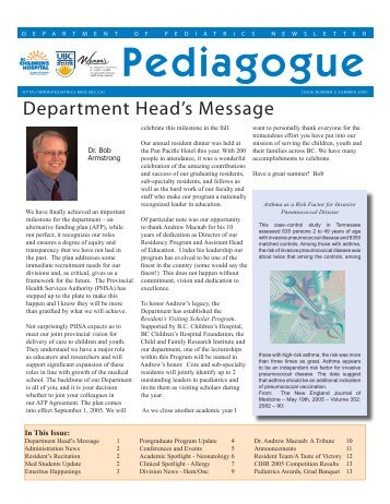 Summer 2005 - Department of Pediatrics - University of British ...