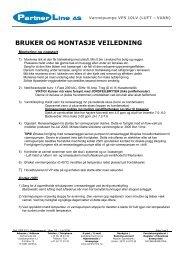 Brukerhåndbok - Varmepumpe 10kW Norsk - Partnerline AS