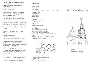 Allendorf mit allen Sinnen IG Tourismus Allendorf (Lumda) Spezielles