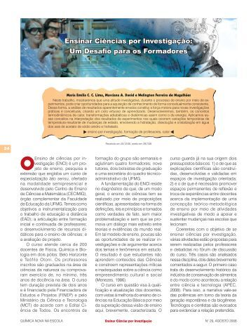 Ensinar Ciências por Investigação: Um Desafio para os ... - QNEsc