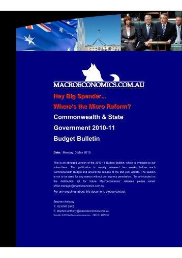 Commonwealth & state budget bulletin 2010 - Macroeconomics