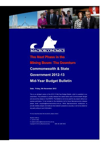 Commonwealth & State Government 2012-13 Mid-Year Budget ...